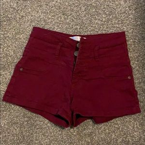 Maroon jean shorts. Very cute and stretchy!